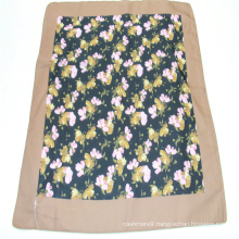 Small squares flower print scarf  soft hand feeling new materials recycled polyester
