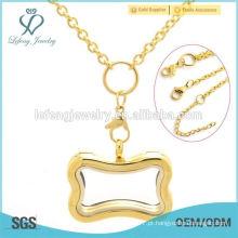 Novo aço inoxidável memória locket jóias colar de ouro 18k