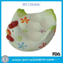Soporte de huevo de cerámica con forma de pollo glaseado blanco