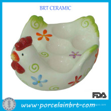 White Glazed Chicken Shape Ceramic Egg Holder