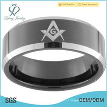 8mm Black Tungsten Carbide Bevel Anel Masonic Bússola e Squar