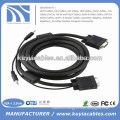 factory price Nickel plated 15PIN 3+6 VGA to VGA Cable with 3.5mm Audio For PC TV