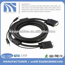 Preço de fábrica Niquelado 15PIN 3 + 6 VGA para cabo VGA com áudio de 3,5 mm para PC TV