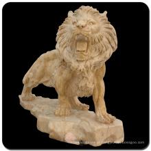 parede de decoração para casa ou ao ar livre escultura de leão de mármore natural
