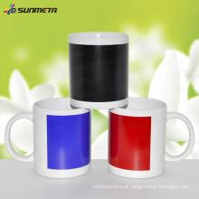 11 oz sublimação caneca branca com mudança de cor Patch Sensitive Print Coating