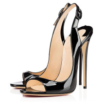 latest black leather ladies open toe super high heel shoes