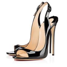 последний черный кожаный дамы открытым носком супер высокий каблук туфли