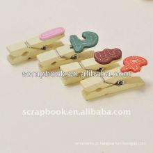 Moda números clip de madeira para artesanato decoração números de madeira clip