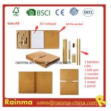 Artigos de papelaria ecológicos com bloco de notas A5 e suporte de arquivo