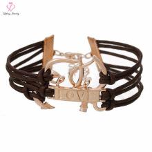 Bracelete barato da âncora do couro do ouro da mulher de Rosa, pulseira da âncora da corda da pérola do aço inoxidável da indicação