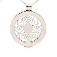 Moda flutuante placa medalha medalha de aço inoxidável, carta medalhão