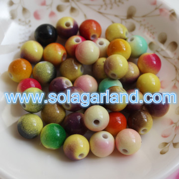 6-16MM Round Plastic Two Tone Color Beads Chunky Gumball Charms