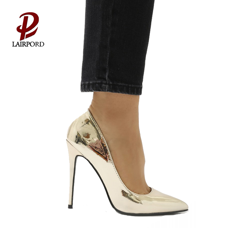 high heel gold pu leather women pumps