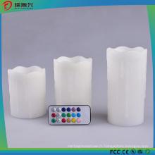 Lumière de pilier blanche de lumière de bougie de la LED 3PCS réglée sans égouttement