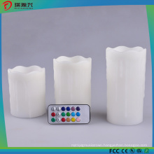 3PCS Set LED Candle Light White Pillar Light No Drips