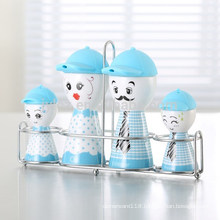set of 4 family condiment set with wire caddy