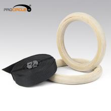 Anéis de ginástica de madeira de alta qualidade / anéis de ginástica com alça