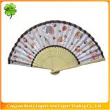 Fancy colorful beautiful promotion bamboo hand fan