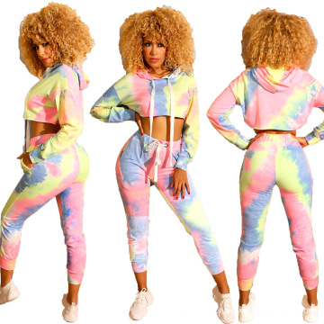 Women 2 Piece Tie Dye Sweatsuit Set