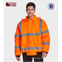 High quality workwear winter safety reflective orange jacket with reflective tape