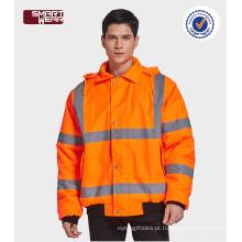 Alta qualidade workwear inverno segurança reflexiva jaqueta laranja com fita reflexiva