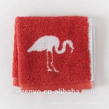 Jacquard flamingo rosto toalha de lavagem pano vermelho macio FT -037