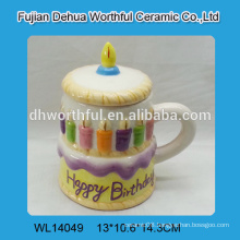 Fashionable design ceramic cup in birthday cake shape with lid