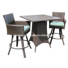 Muebles de mimbre al aire libre taburete Bar Patio conjunto jardín de la rota