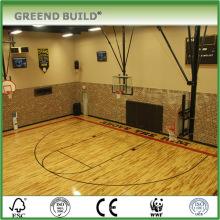 Piso de madeira maciça de basquete