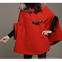 Fashion Casual Womens Coat Hooded Swing Shawl Jacket Cloak