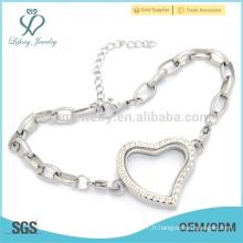 316l Bracelet en acier inoxydable en forme de serrures magnétiques, bijoux en cuir féminin spécial