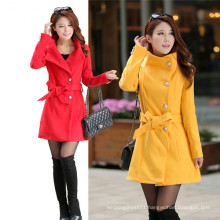New Style Slim Thin Woolen Women Windbreaker Jacket (MU6641-1)