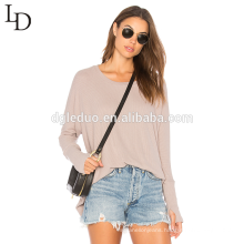 Latest design autumn long sleeve loose casual ladies pullover sweater