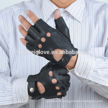 External 100% Genuine deerskin Perforated Mens Half Finger Driving Leather Gloves