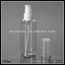 Botellas de plástico de 100 ml, botellas de plástico transparentes, botella de plástico cuadrada con bomba