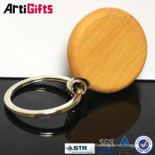 Custom cheap supply oval shape blank wooden keychain