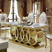 New Design Stainless Steel Marble Top Hotel Banquet Wedding Dining Table