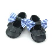 Couleurs noires gros Bow mocassins en cuir chaussures de bébé