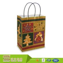 Diversos tipos coloridos personalizados logotipo impresión personalizada brillo bolsas de papel para regalo de Navidad feliz embalaje
