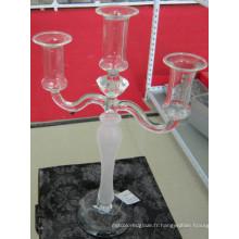 Porte-bougie en verre givrant avec trois affiches