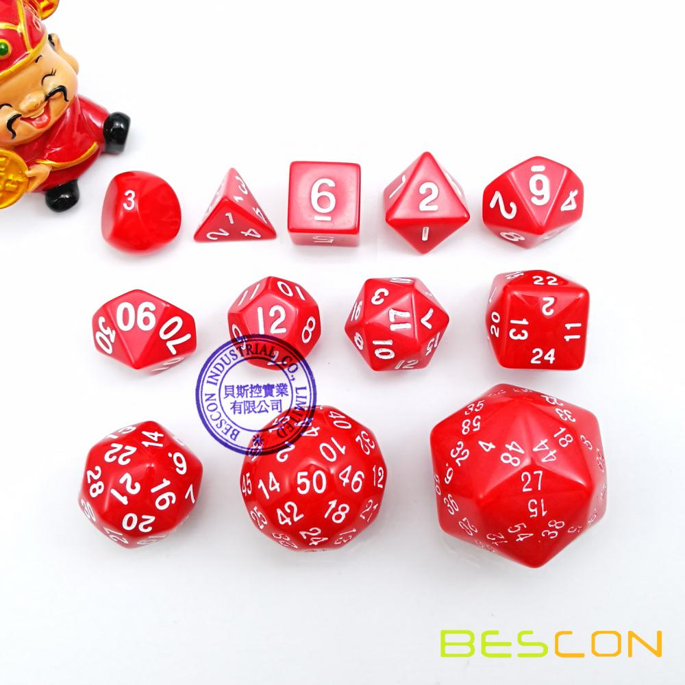 BESCON Complete Polyhedral Dice Set of 12pcs, D3-D60 60 Sides RPG Dice Set Red D3 D4 D6 D8 D10 D100 D12 D20 D24 D30 D50 D60