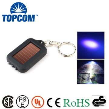 MINI 3 LED ABS energia solar recarregável 365NM UV lanterna chaveiro