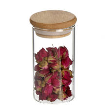 Clear Borosilicate Glass Airtight Canister with Bamboo Lid