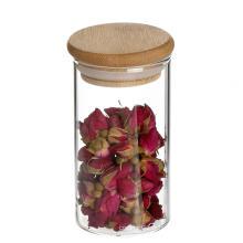 Boîte étanche en verre à base de borosilicate transparent avec couvercle en bambou