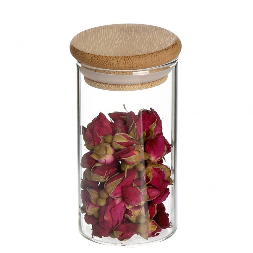 Transparent Food Storage Canister with Wooden Lid