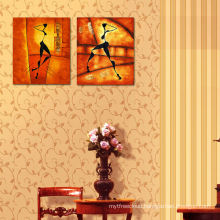 Abstract Image Printing Two Panel Canvas Painting