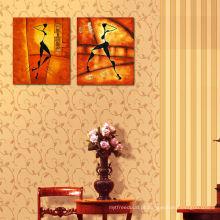 Pintura abstrata da lona do painel da impressão dois da imagem