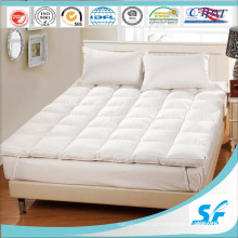 Hangzhou tecido de algodão de luxo 75% branco pato colchão de colchão de penas