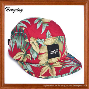 Floral Flat Brim Woven Label 5 Panel Caps