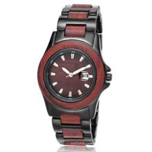Nueva protección del medio ambiente Japón Movimiento moda madera-acero reloj Bg307